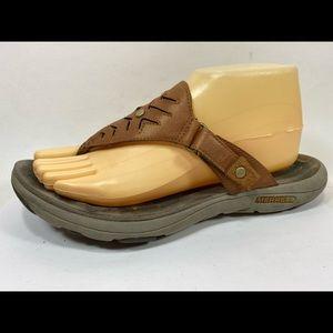 Merrell Adhera Brown Leather Flip Flops Sz 9/40M
